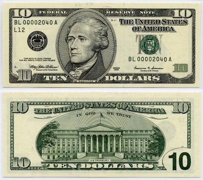 10 Dollar Bill, Ten Dollar Bill