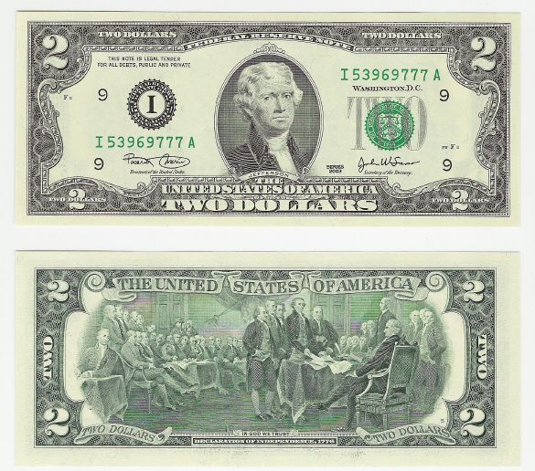 2 Dollar Bill, Two Dollar Bill