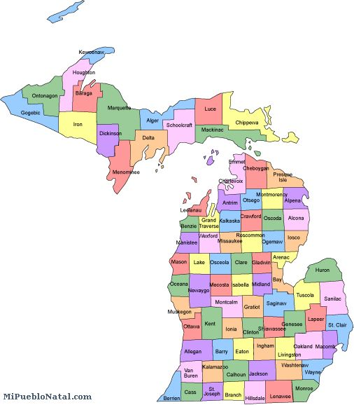 Map Of Michigan Counties  Tourism Fiji
