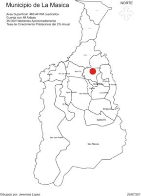 Mapa La Masica, Divicion por Aldeas